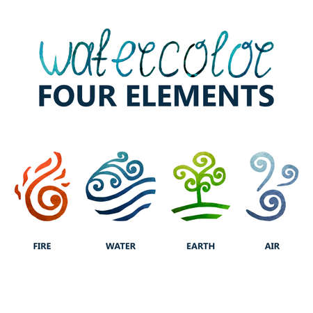 fire and water: four elements watercolor (Fire, Water, Earth, Air)
