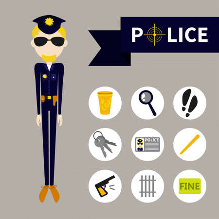 Police (9 icons) flet style Vector