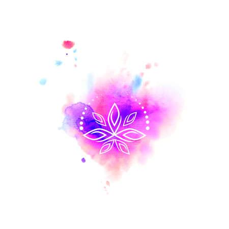 prana: Watercolor spot. Yoga lotus (texture). character