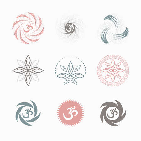yoga om (icons, flet) color Vector