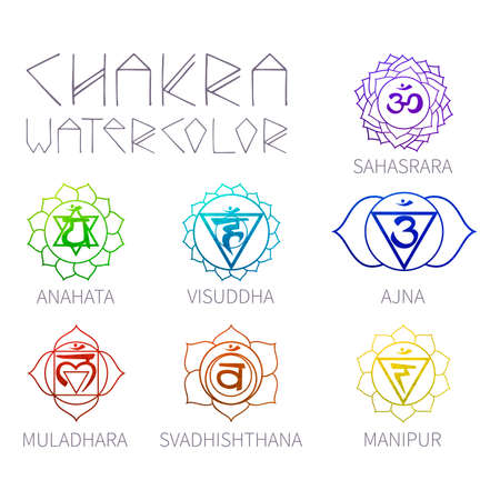chakra symbols: Energy centers - chakras (7 items) watercolor