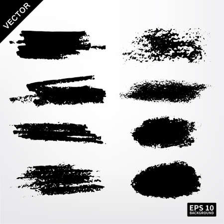 ink stain: Grunge brush set. Barcode pencil, ink stain. Vector background EPS 10