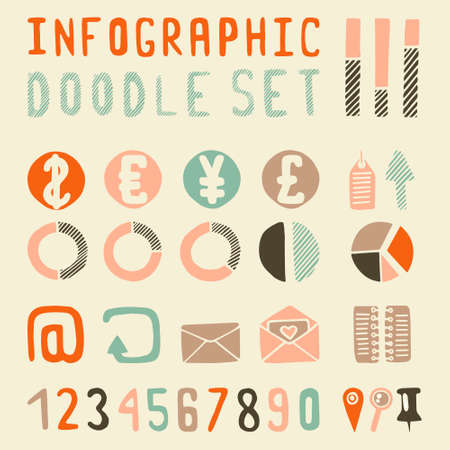 set of money: Infographics doodle set money. Vintage colors Illustration