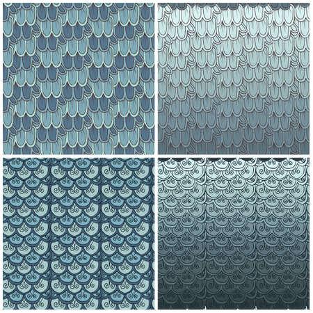 escamas de peces: escalas de peces patrón sin fisuras (juego de 4 patrones)