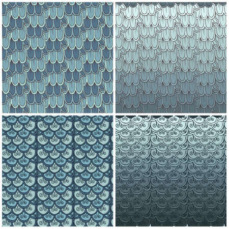 fish scales: seamless pattern fish scales (set of 4 patterns)