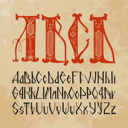 slavic: Slavic alphabet spelling (hand drawn). Initial.