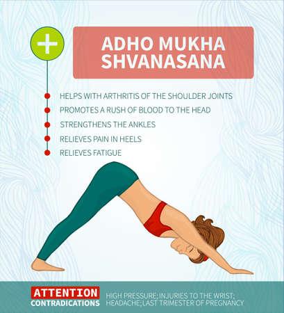 fortalecimiento: La terapia del yoga. Infograf�a Yoga. Adho Mukha Shvanasana