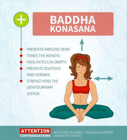 baddha: Yoga therapy. Yoga infographics. Baddha Konasana (Hatha yoga)