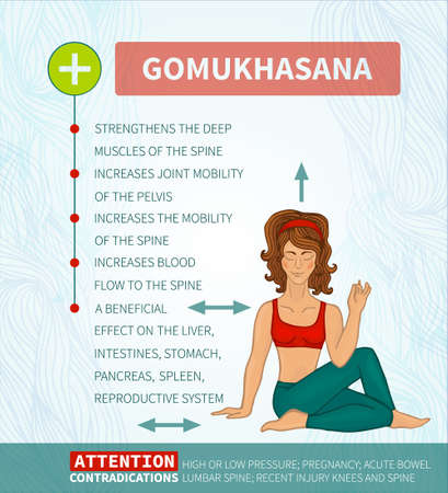 Yoga therapy. Yoga infographics. Ardha Matsiendrasana Vettoriali