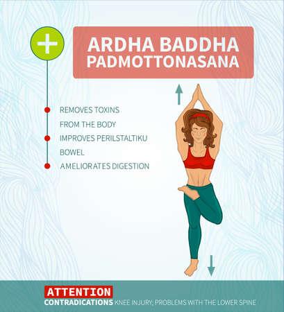 baddha: Yoga therapy. Yoga infographics Ardha baddha padmottanasana (hatha yoga)
