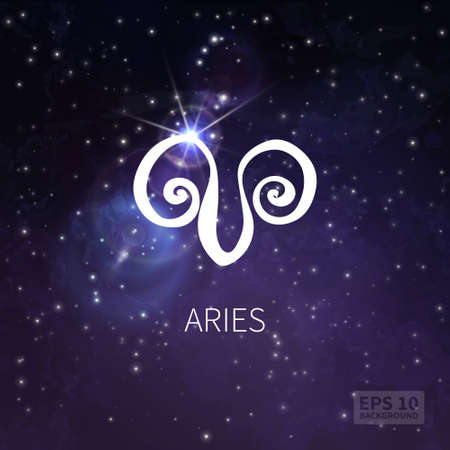 aries zodiac: Vector background universe (texture). Aries zodiac. Stars and sky Illustration
