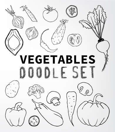 bell tomato: Vegetables doodle set. Set of elements suitable for your restaurant business. Set of elements 15