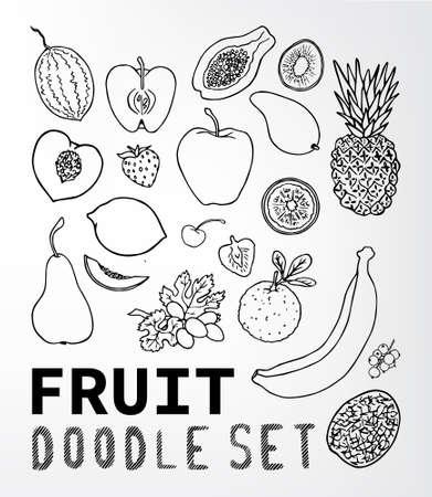 apples and oranges: Fruit doodle set. Set of elements suitable for your restaurant business. Set of elements 15