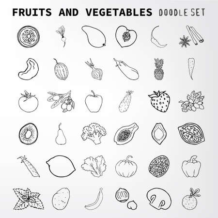 apples and oranges: Fruit and vegetables doodle set. Set of elements suitable for your restaurant business. Set of elements 36