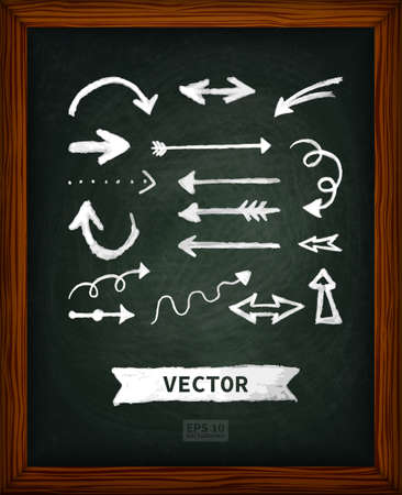 wood frame: Chalk board with doodle arrows. The texture of chalk, wood frame. Back to school. The image can be used for your business, office supply store, books