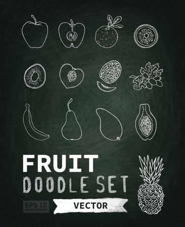 blackboard background: Chalk board, chalk texture. Doodle set menu fruit. The image can be used for your business, shop, cafe, restaurant