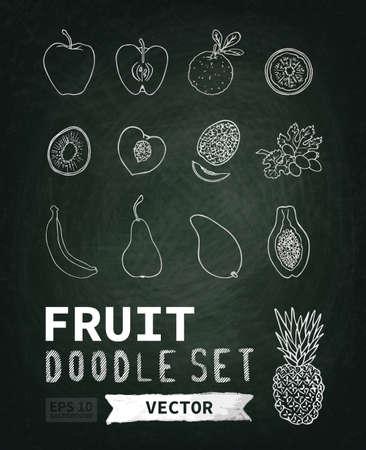 Chalk board, krijt textuur. Doodle menu fruit. Het beeld kan worden gebruikt voor uw bedrijf, winkel, café, restaurant
