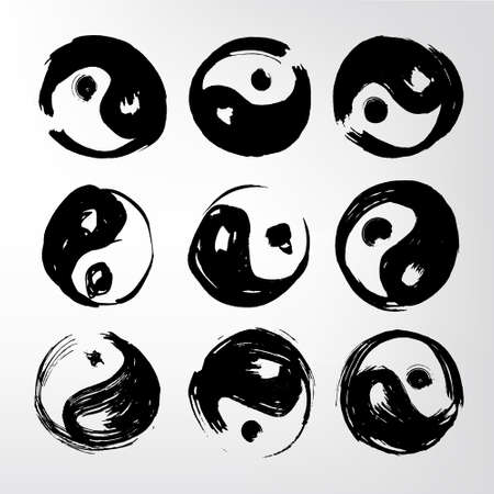 china watercolor paint: Yin yang symbol Set of 9 characters. Ink stains. Japanese calligraphy. The image can be used as prints, logo, cards, textiles, template, yoga products