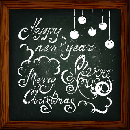 mel: Happy New Year and Merry Christmas lettering. Chalkboard background. Mel. The image can be used as a greeting card, background, invitations, flyers, promotions, sticker Illustration