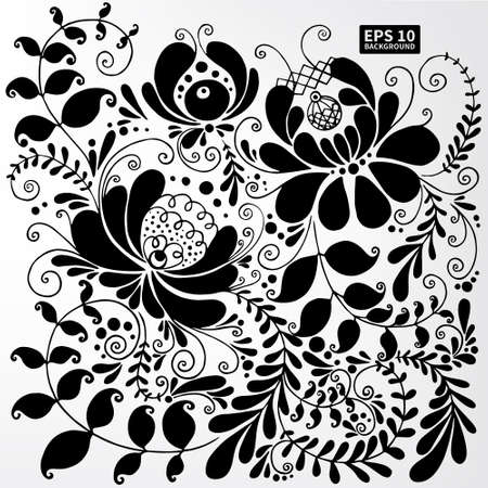 gzhel: Floral ornament Slavic motif Gzhel. The image can be used as a background, wallpaper, template, stencil design Illustration