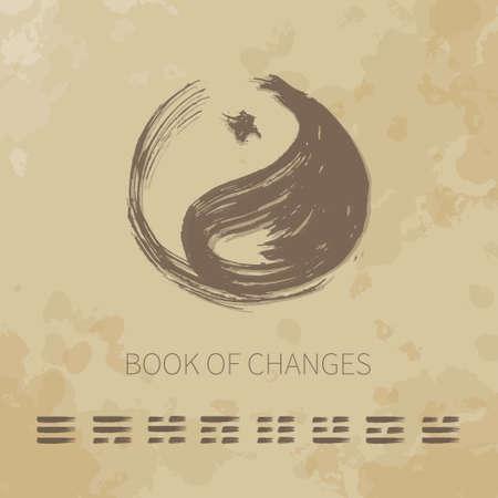 陰陽ベクトル アイコンを設定。変更の本を推測しています。高齢者用紙の背景をテクスチャします。イメージ広告、ロゴ、ヨガのスタジオの背景と  イラスト・ベクター素材