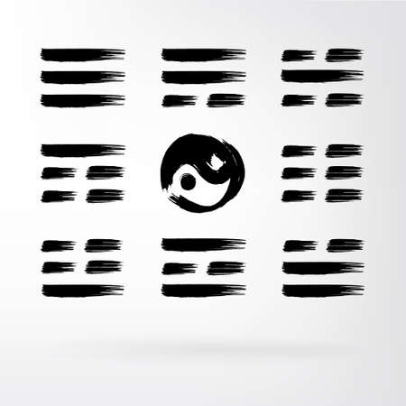 guessing: Yin Yang vector set of icons. Guessing on the Book of Changes. The image can be used to print maps, posters, as a background, advertising, logos, yoga studios Illustration