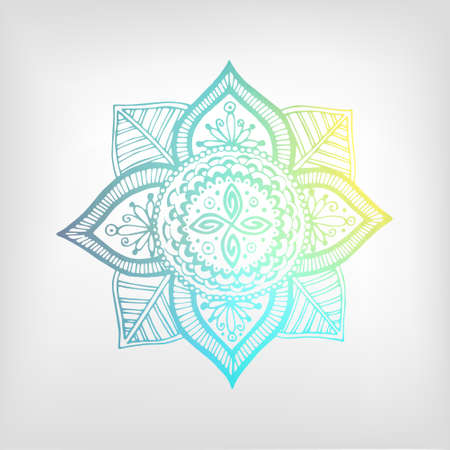 shaping: Mandala color gradient. Isolated object. The image can be used for your business as an advertisement in yoga studios, shaping, health centers, fitness Illustration