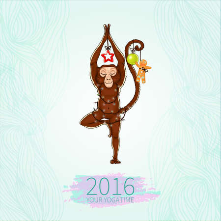 centers: Monkey doing yoga. Vrikshasana - tree pose. New Year. Christmas decorations. The image can be used for your business as an advertisement in yoga studios, shaping, health centers, fitness Illustration