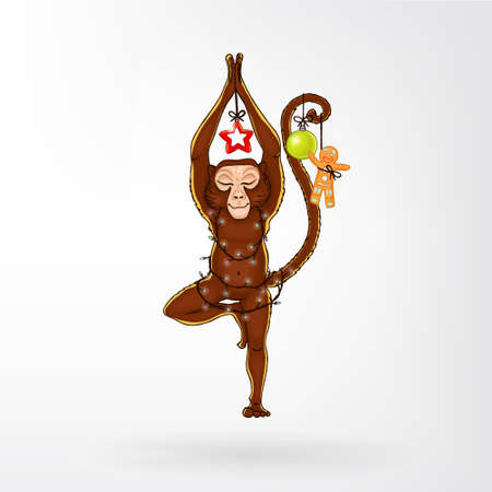 shaping: Monkey doing yoga. Vrikshasana - tree pose. New Year. Christmas decorations (isolated). The image can be used for your business as an advertisement in yoga studios, shaping, health centers, fitness