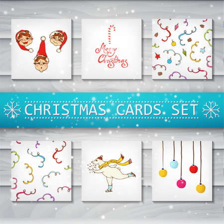 blank template: Set of Christmas cards and seamless patterns (6) Background tree. The image can be used as a greeting card, flyer, wallpaper, Promotions, book cover