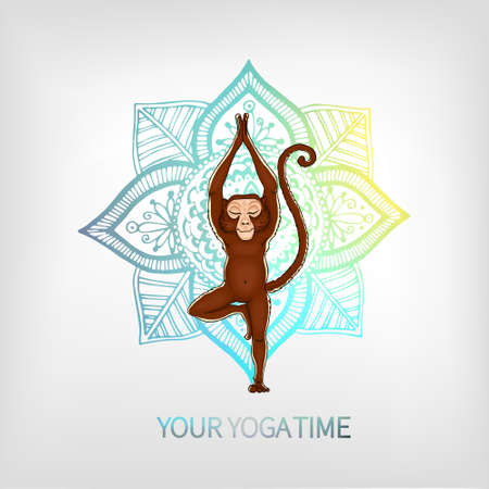 Monkey doing yoga on the background of the mandala. Vrikshasana - tree pose. The image can be used for your business as an advertisement in yoga studios, shaping, health centers, fitness