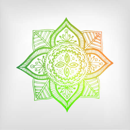 shaping: Mandala color gradient. Isolated object (color). The image can be used for your business as an advertisement in yoga studios, shaping, health centers, fitness Illustration