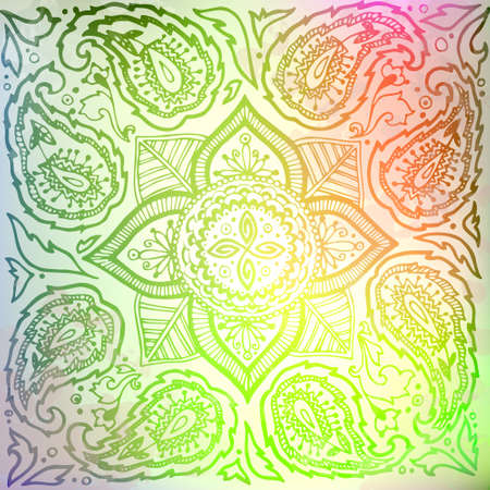substrate: Indian mandala. Color pattern (green). The image can be used as a background template, the substrate, wallpaper, when printing on the cloth in the textile industry