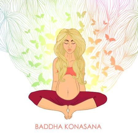 donna farfalla: Yoga per le donne in gravidanza. (Bionda donna farfalla posa) la natura. L'immagine può essere usata per il vostro business come un annuncio in studi di yoga, la modellatura, centri di salute, fitness Vettoriali