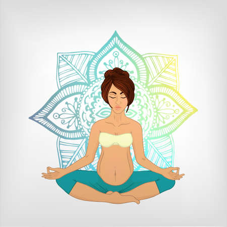 pregnancy exercise: Yoga for pregnant women. The image can be used for your business as an advertisement in yoga studios, shaping, health centers, fitness Illustration