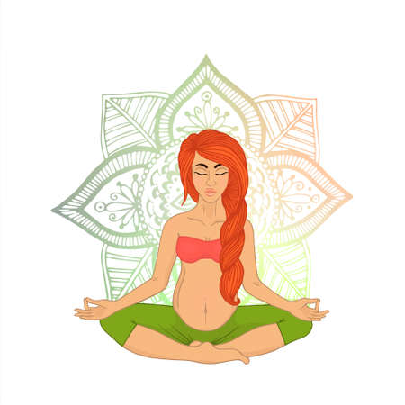 shaping: Yoga for pregnant women (red-haired woman). The image can be used for your business as an advertisement in yoga studios, shaping, health centers, fitness
