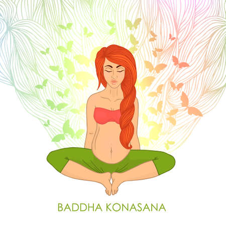 centers: Yoga for pregnant women. (red-haired woman butterfly pose) nature. The image can be used for your business as an advertisement in yoga studios, shaping, health centers, fitness