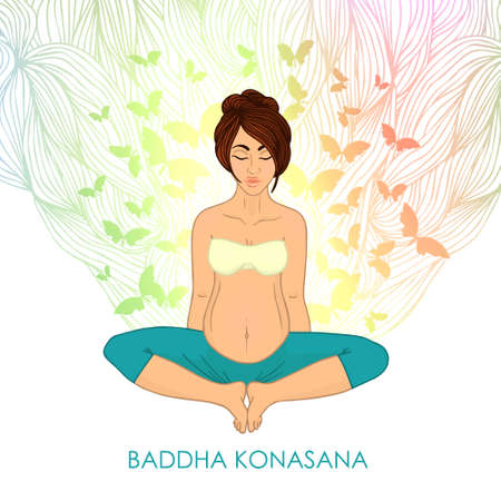 centers: Yoga for pregnant women. (brunette woman butterfly pose) nature. The image can be used for your business as an advertisement in yoga studios, shaping, health centers, fitness Illustration