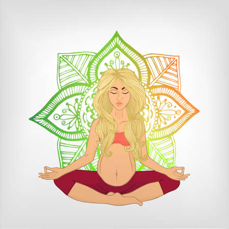 shaping: Yoga for pregnant women. (blonde woman) nature. The image can be used for your business as an advertisement in yoga studios, shaping, health centers, fitness