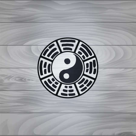 china watercolor paint: Logo of the elements of the book changes. Yin Yang (wood texture2). The image can be used to print maps, posters, as a background, advertising, logos, yoga studios
