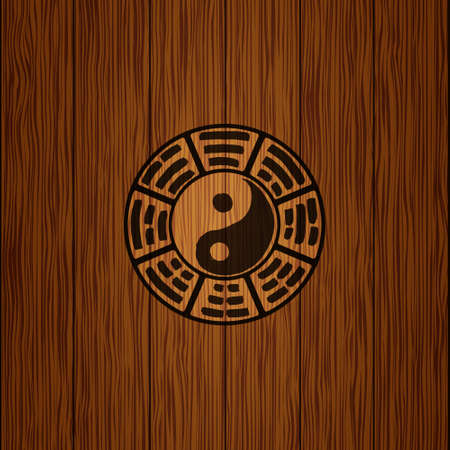 Logo of the elements of the book changes. Yin Yang (wood texture). The image can be used to print maps, posters, as a background, advertising, logos, yoga studios