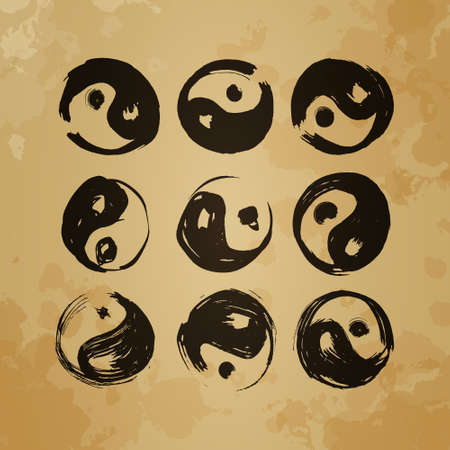 Yin yang symbol Set of 9 characters