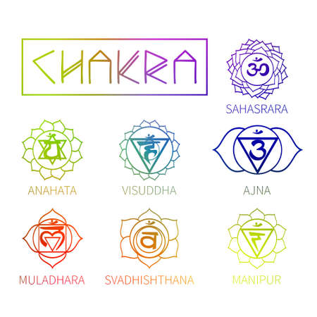 ajna: Chakra energy centers of the human icons