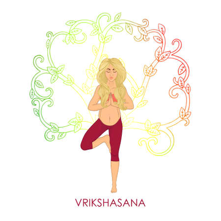 centers: Yoga for pregnant women - Vrikshasana (blonde woman). The image can be used for your business, as advertising in yoga studios, shaping, fitness centers, fitness Illustration