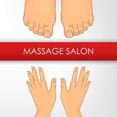 facial massage: Massage Salon (hands and foot). The image can be used for printing cards and posters, as backgrounds, advertising for massage salon, spa