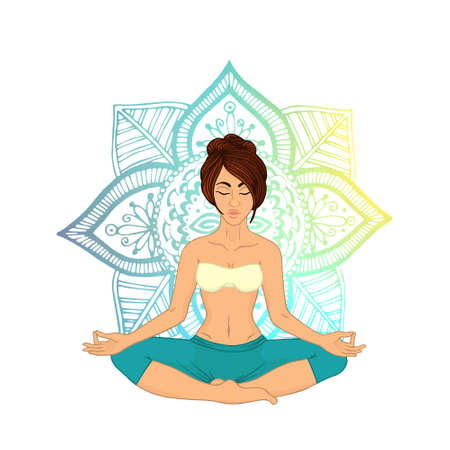 centers: Yoga for women. The image can be used for your business as an advertisement in yoga studios, shaping, health centers, fitness Illustration