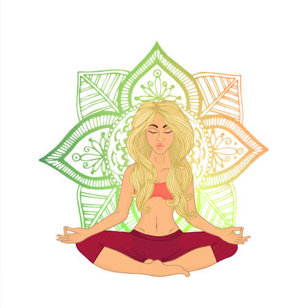shaping: Yoga for women (blonde hair). The image can be used for your business as an advertisement in yoga studios, shaping, health centers, fitness Illustration
