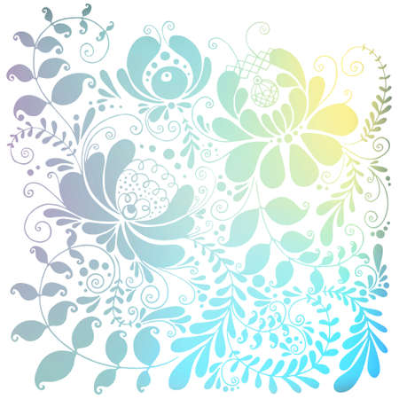sweaty: Floral ornament Slavic motif. Gzhel pattern on sweaty box (color). The image can be used as a background, wallpaper, template, stencil design Illustration