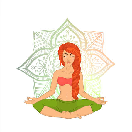 Yoga for women (red braided hair). The image can be used for your business as an advertisement in yoga studios, shaping, health centers, fitness Illustration