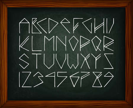 rune: Chalk board with rune alphabet. The texture of chalk, wooden frame. The image can be used for your business, office, shop, cafe, design books, wedding decor Illustration